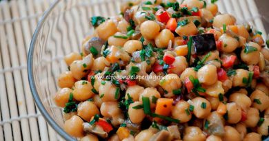 Ensalada de garbanzos con berenjena y vinagreta